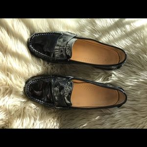 Cole Haan Blk Patten Leather Penny Loafers